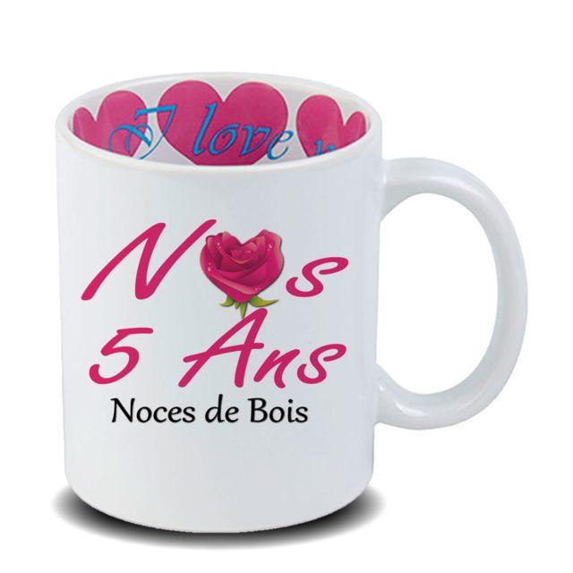 Mug Anniversaire De Mariage 5 Ans Noces De Bois En Céramique Cadeau Fête Des Mères Fête Des Pères Ou Toutes Autres Occasions