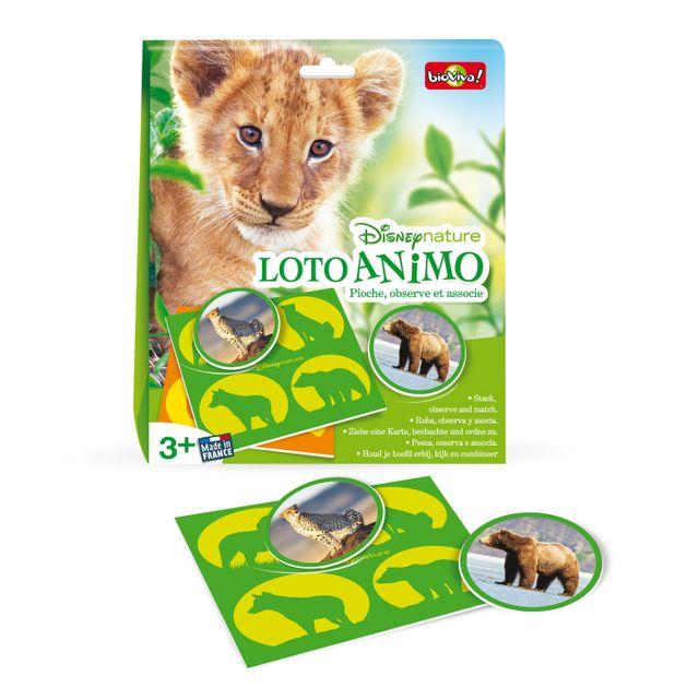 Bioviva Loto Animo Disneynature Un jeu de loto qui invite à la découverte animale ! Contenu :- 5 planches- 20 jetons- 1 règle du jeuMade in France.Nombre de joueurs : de 1 à 5.A partir de 3 ans.Age minimum : 3 ans
