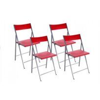 Inside 75 - Belfort Lot de 4 chaises pliantes rouge