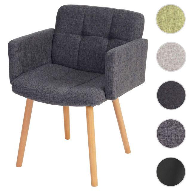 Chaise de séjour Orlando Ii, style rétro ~ tissu, gris
