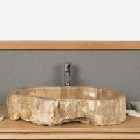 Wanda Collection - Vasque à poser en bois fossilisé 65 Cm