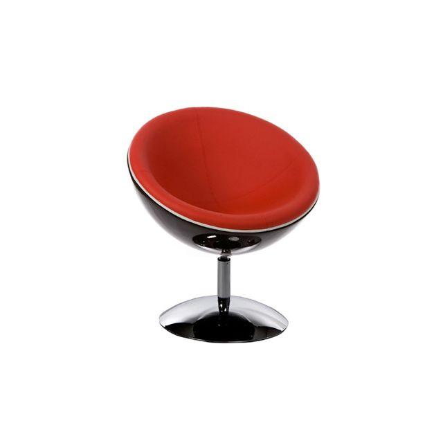 Fauteuil design 60x70x78cm Spherea - noir et rouge