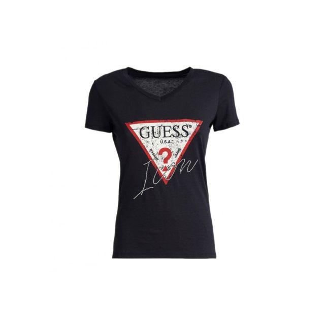 Guess - T-shirt Femme Icon W91I69 Noir -