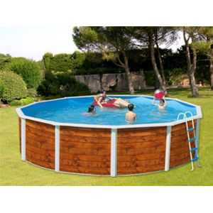 toi vigipiscine kit piscine hors sol acier etnica ronde d coration bois x pas. Black Bedroom Furniture Sets. Home Design Ideas