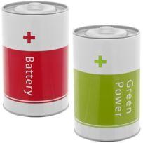 Promobo - Lot Set 2 Boite A Piles Recyclage Rangement Ecologique En Métal Design City