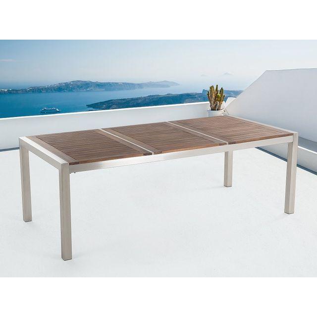 Beliani Table de jardin acier inox - plateau en bois - triple 220 cm - Grosseto