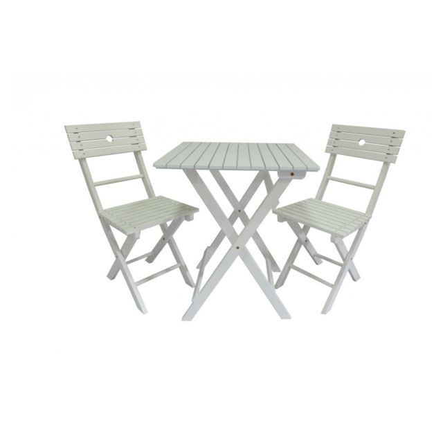 Envie De Meubles - Salon de jardin Tennis 2 chaises blanc ou bleu ...