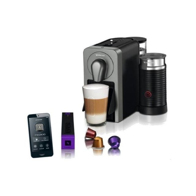 krups cafeti re capsules xn411t prodigio milk nespresso 19 bar 1 l 1260w titane pas cher. Black Bedroom Furniture Sets. Home Design Ideas