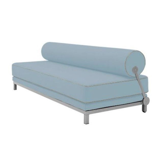 Inside 75 Canapé lit convertible design Sleep en tissu bleu ciel structure aluminium Softline