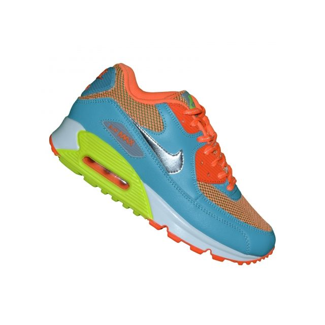 competitive price 0ada1 27ed5 Nike - Basket - Femme - Air Max 90 79 - Bleu Argent Orange - pas cher Achat    Vente Baskets femme - RueDuCommerce