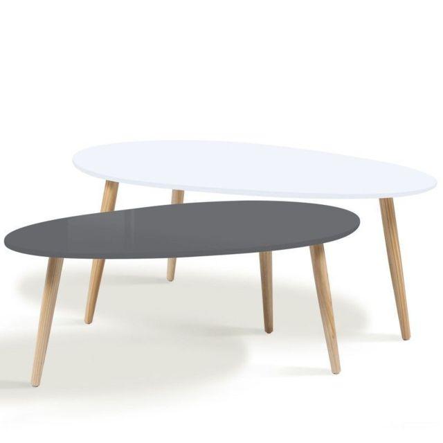 IDMARKET - lot de 2 tables basses gigognes laquées gris blanc scandinave 60cm x 98cm x 40cm