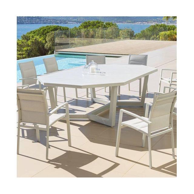 Hespéride - Table octogonale 10 personnes Olympe galet - pas cher ...