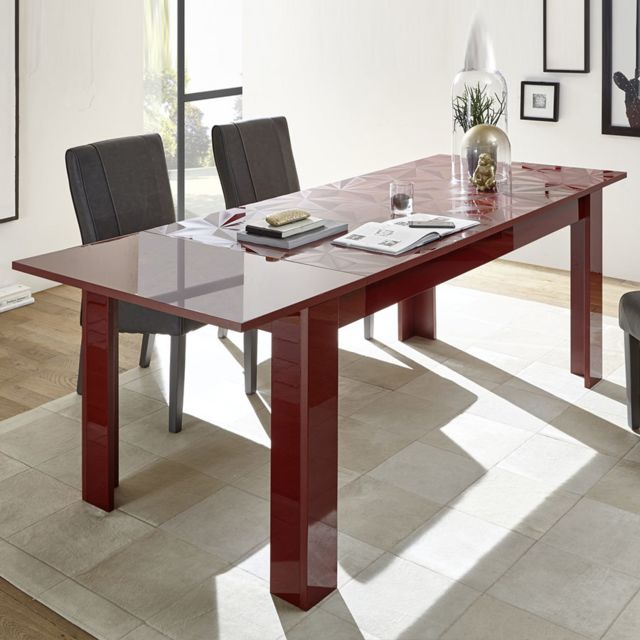 Kasalinea Table extensible 180 cm rouge laqué design Nino 3