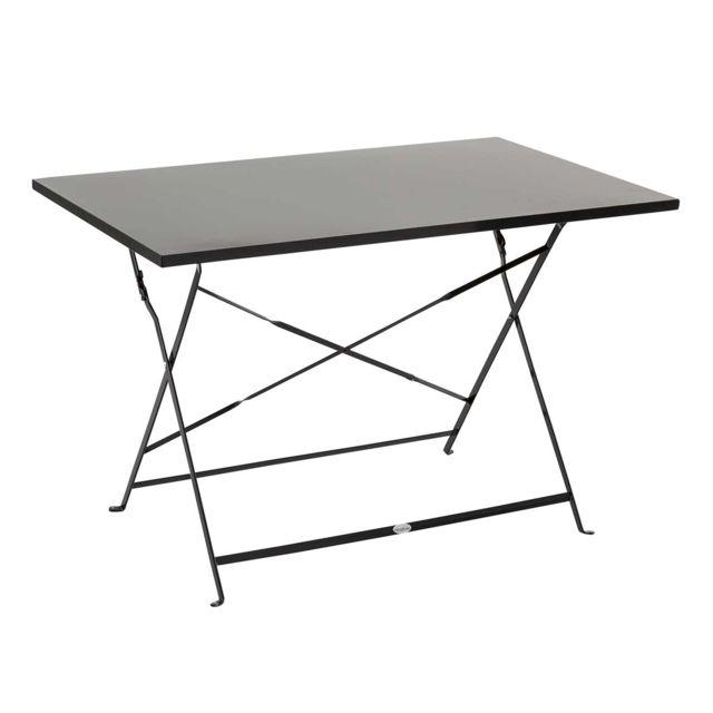 HESPERIDE - Table de jardin Hespéride rectangle Camargue 110 x 70 cm Noir