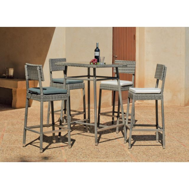 Hevea - Table haute de jardin carrée 75x75 cm + 4 tabourets hauts ...