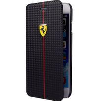 Ferrari - Etui série Formula One noir aspect carbone rabat latéral pour iPhone 6