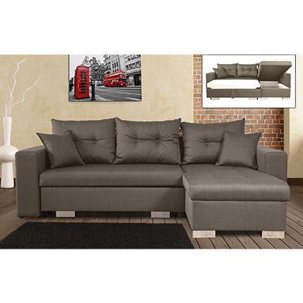 Canapé d'angle à droite convertible avec coffre coloris gris chiné