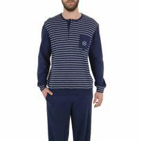 Eminence - Pyjama long en coton interlock : tee-shirt col tunisien bleu marine à rayures gris chiné, pantalon bleu marine