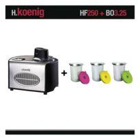 HKOENIG - Turbine A Glace Sorbetiere Hf250 + Set De 3 Bols Suplementaires Bo3 H.KOENIG