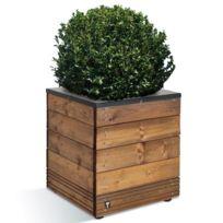 Jardipolys - Bac à fleurs en bois et acier carré à hauteur 47 cm 63L