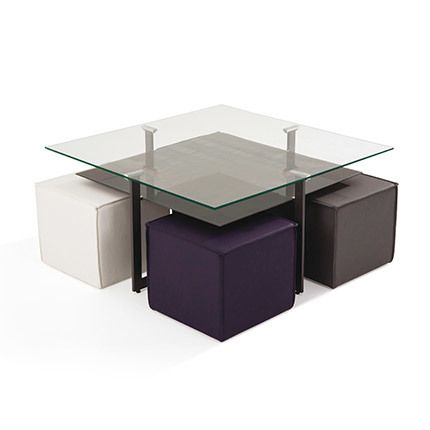 Ensemble table bas + pouf en verre trempé / Mdf multicolore gris