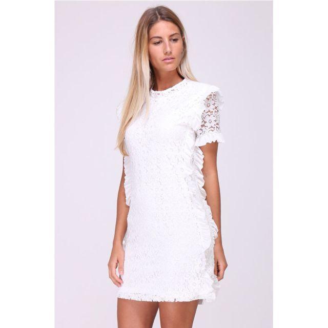 ac595dd990ff Cendriyon - Robe blanche brodée Foliangel - pas cher Achat   Vente Robes -  RueDuCommerce