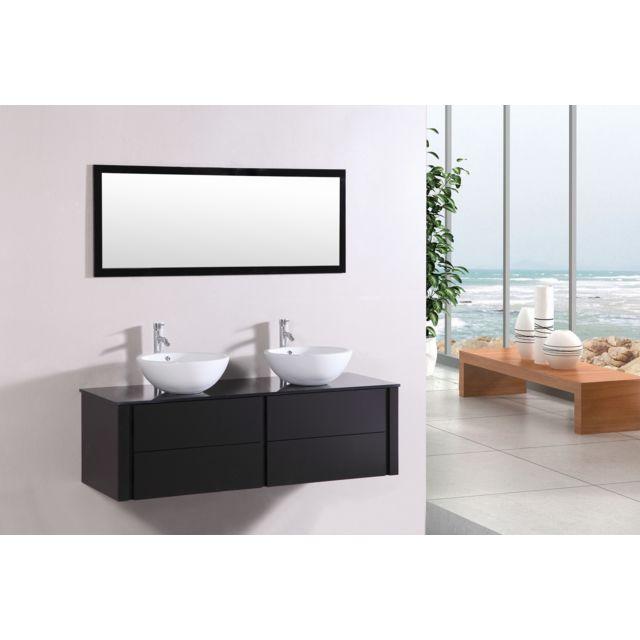 Concept Usine Lilia Wenge : ensemble salle de bain meuble + 2 vasques + 1 miroir