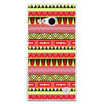 Kabiloo - Coque rigide transparente pour Nokia Lumia 735 avec impression Motifs aztèque jaune et rouge