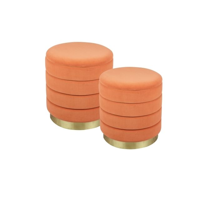 TABLE PASSION Set de 2 poufs orange Bibum 44 et 38 cm