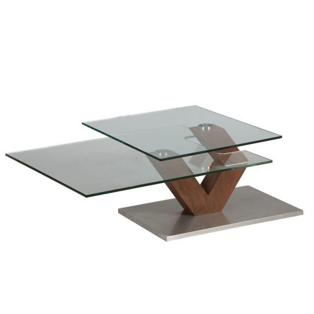 Dansmamaison Table basse en verre et bois - Brach - L 87 x l 65 x H 40 cm