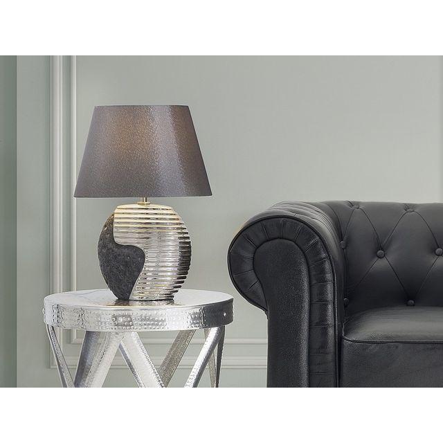 Beliani lampe à poser lampe de salon de chevet de bureau noir et argent esla