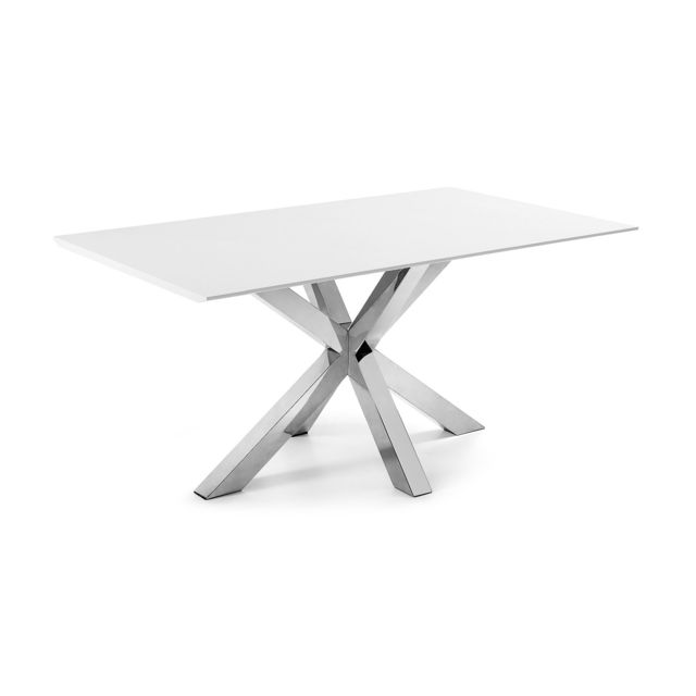 Kavehome Table New Argo 160x90, Inox et Laqué mat blanc