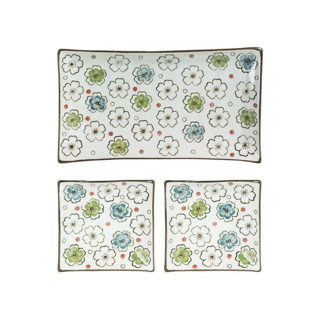 Table Passion Plats en porcelaine motif floral - Coffret de 3 pièces Choshi