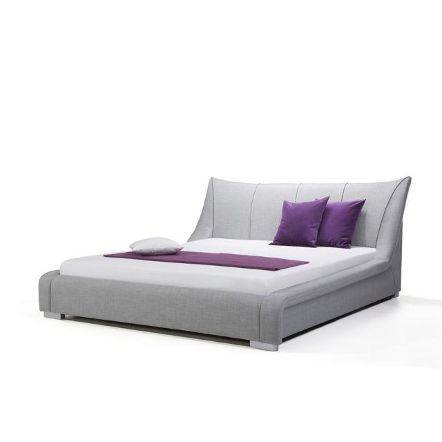 BELIANI Lit design en tissu double 160x200 cm gris NANTES - gris