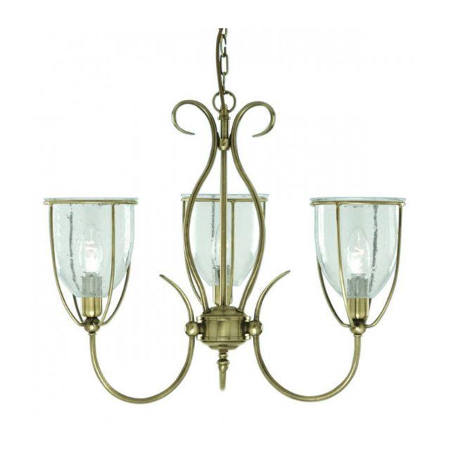 Searchlight Suspension 3 ampoules Silhouette, en laiton antique et verre