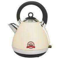 Bestron - Bouilloire électrique Vintage en acier inoxydable 1,7L - 2400W - Base 360° - Design ivoire