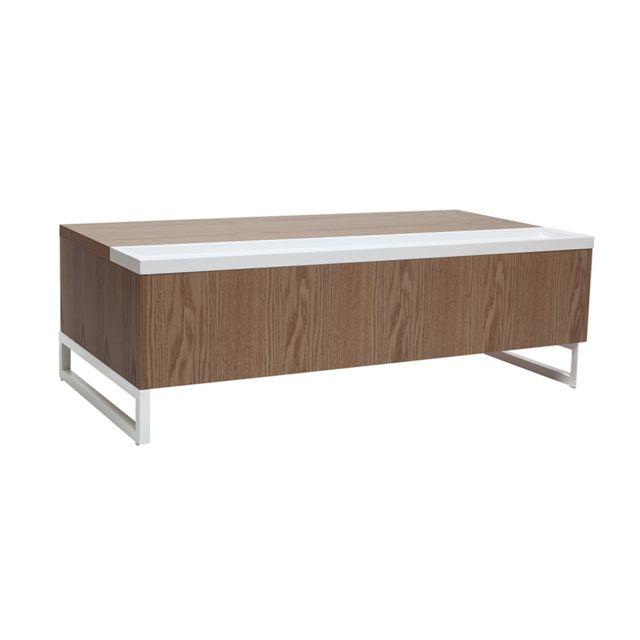 Miliboo Table Basse Design Relevable Bois Et Blanc Avec