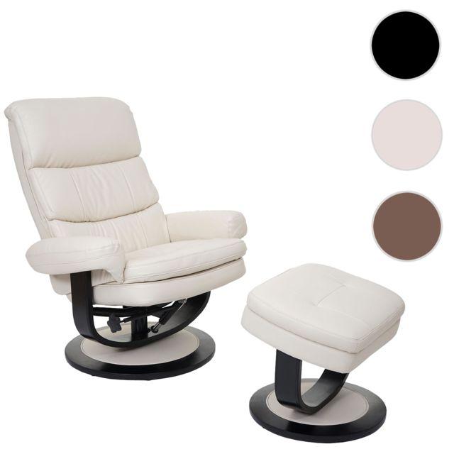 Mendler Fauteuil relax Turda, fauteuil de télévision, avec tabouret + casier, similicuir ~ crème