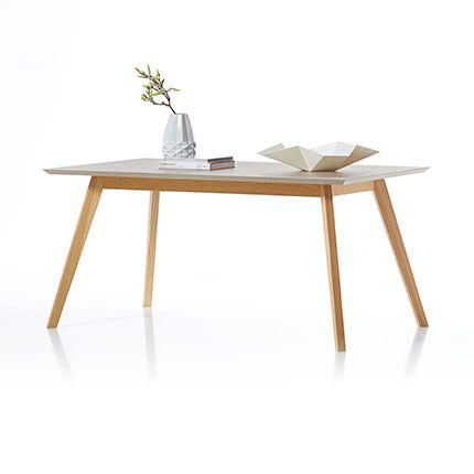 Table à manger 160x75x90cm - coloris chêne et taupe