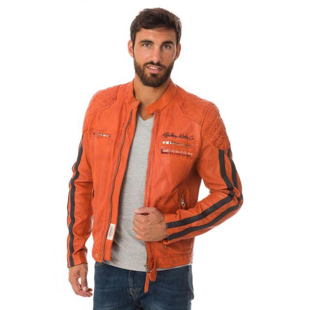 Redskins - Rivas Rocho Orange. Description  Fiche technique. Blouson motard  en cuir orange 437ae34ea740