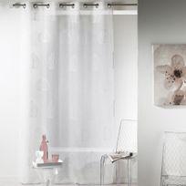 Eminza - Cdaffaires Panneau a oeillets 140 x 240 cm voile sable brode palmy Blanc