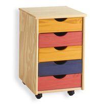 Idimex - Caisson de bureau sur roulettes, 5T, multicolore