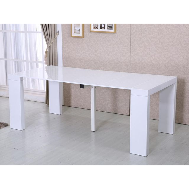 HABITAT ET JARDIN Table repas extensible Dina - 200/40 x 94 x 75 cm - Blanc laqué