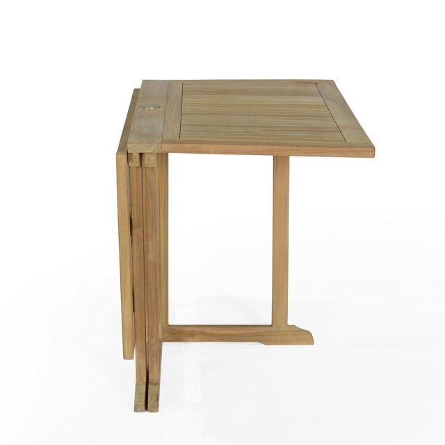 Salon de jardin en teck Ecograde Hula, table pliante carrée 120 cm + 4  chaises Karimun