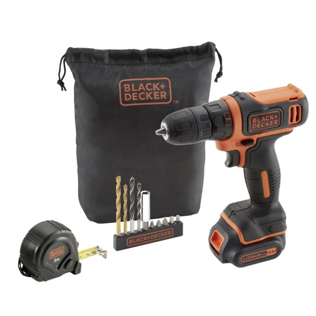 BLACK & DECKER - Kit perceuse visseuse sans fil 10, 8 V - BDCDD12GPA