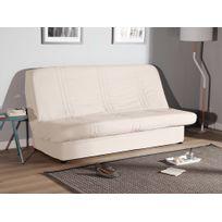 Comptoir Des Toiles - Housse de clic-clac matelassée ligne coton bachette + bande socle pour couchage 130/140x190cm Gaspard - Ecru