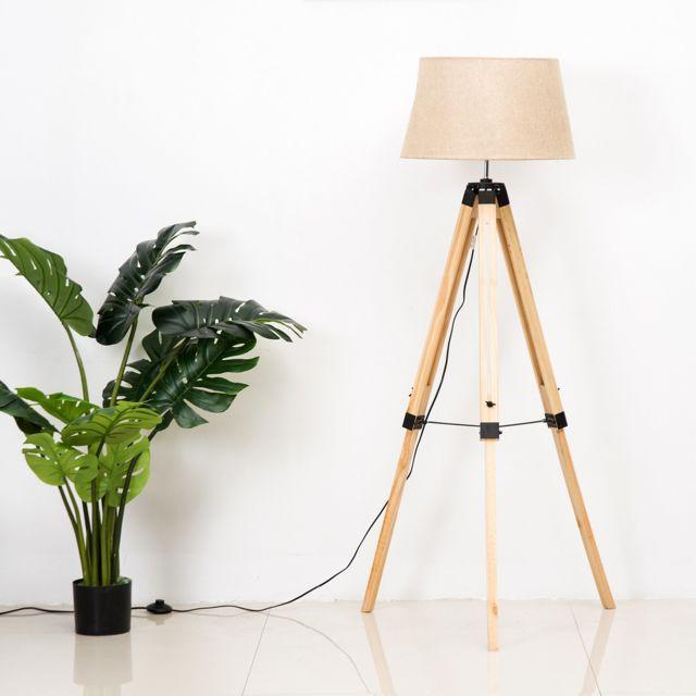 HOMCOM - Lampadaire trépied hauteur réglable 65 x 65 x 99-143 cm lampe de sol 40 W bois style nordique 65cm x 143cm x 65cm