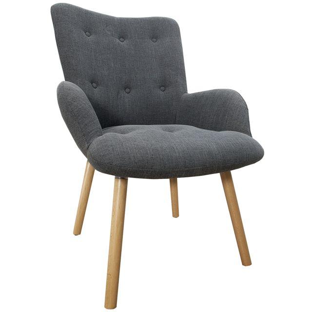 COMFORIUM Chaise design scandinave en tissu coloris gris avec piétement en bois de hêtre massif