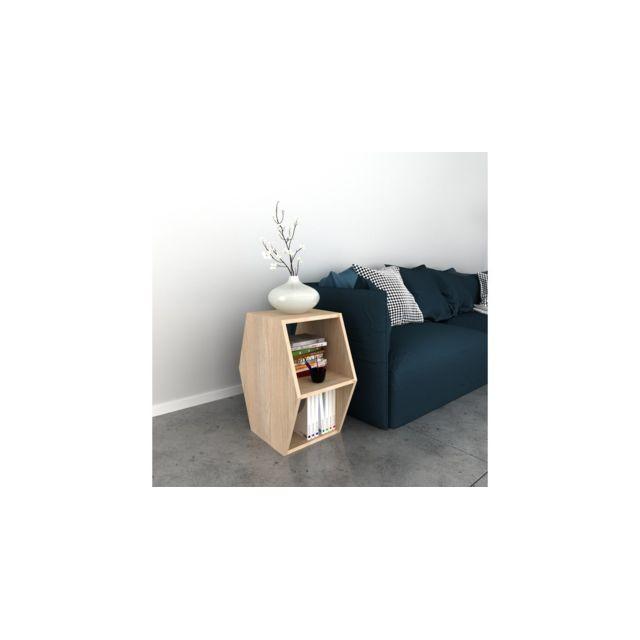 Homemania Table Basse Gift Porte-Revues, Livres - avec Étagères - pour Salon, Canapé - Sonoma en Bois, 33,6 x 52 x 60 cm