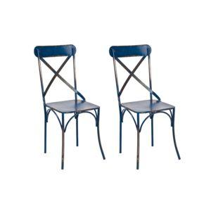 miliboo - lot de 2 chaises bistrot industrielles métal bleu coffee ... - Chaise Metal Industriel Pas Cher